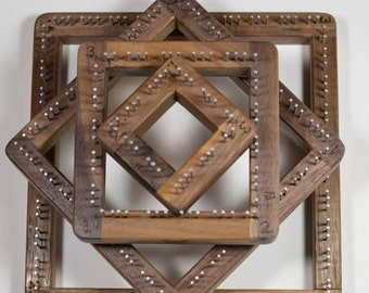 Walnut Pin Looms From Blue Butterfly, Wooden Pin Loom, Frame Loom, Pin Weaving Loom, Easy Weaver Looms