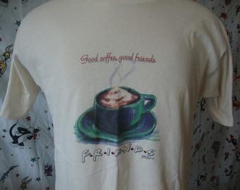 Vintage 90's FRIENDS TV Show 1995 Central Perk Good Coffee Shop Rare T Shirt Size M