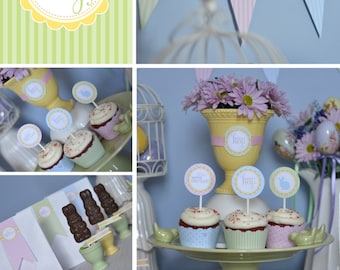INSTANT DOWNLOAD - DIY printable easter party package, bunny birthday party package - hoppity hop