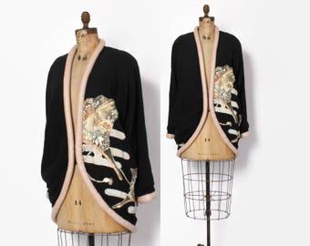 Vintage 80s Leather Trim KIMONO JACKET / 1980s Avant Garde Embroidered Oversized Silk Coat