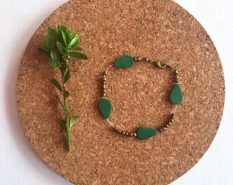 Leather & bead bracelet