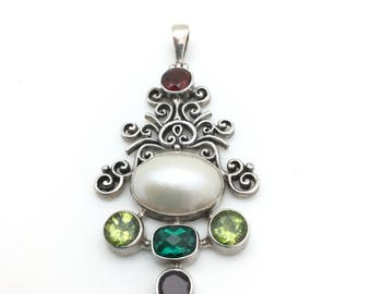 Sterling Silver Mabe Pearl with Semi -Precious Stones