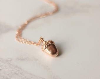 Rose gold Acorn necklace - Acorn pendant- Acorn necklace - woodland jewellery