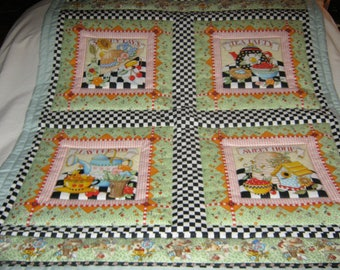 Handmade Senior Lap Mary Engelbreit DAY DREAMS Vintage Cotton Quilt-Newly Made 2018  Very Rare, Out of Print, Beautiful Gift