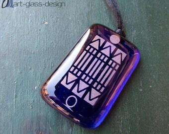 Luxor amulet pendant in dark blue glass