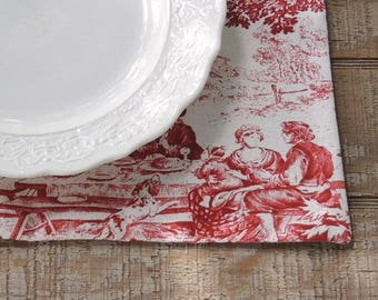 French Country Red and Cream Toile Lined Placemats Set of 4 Custom Order Table Mats Table Decor Stof Impressiones de Nature