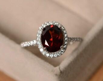 Garnet rings, halo rings, sterling silver, January birthstone ring, oval cut garnet