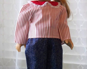 Handmade Doll Pants Set Shirt and Jeans Suit fits 18 inch doll, Handmade Cloth Pant Set for dolls