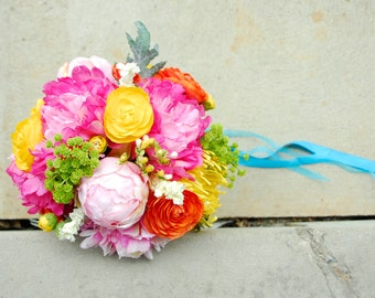 Brightly Colored Eclectic Bouquet with Real Touch Peonies, Orange and Yellow Ranunculus, Peony Buds, Green Wildflowers