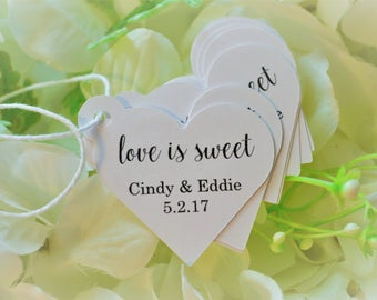 Love is Sweet Tags, Mini Heart Wedding tags, Custom Wedding Thank You Favor, Reception Tags, Bridal Shower Hearts, Small Personalized Tags