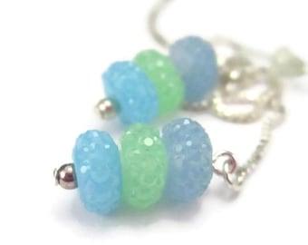 Green Blue Threader Earrings Sterling Silver Glass Ear Threads, Long Chain Earrings