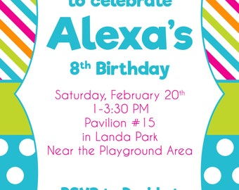 Colorful Girls Birthday Invitation