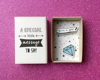 You're a gem - Diorama matchbox - Gemstone card - Blue diamond - Card for dad - Friendship gift - Gift for him - Anniversary card