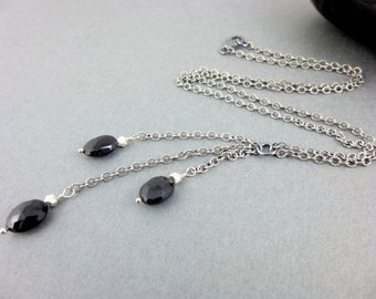 Black Spinel Chakra Necklace - Root Chakra - Sterling Silver -  Black & Silver Cleavage Necklace - Healing Crystlas - Chakra Energy Jewelry