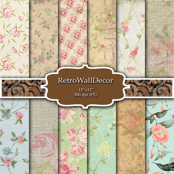 Floral Digital Paper Shabby Chic Papers Patterns Scrapbook Decoupage Vintage Backgrounds 12x12 Buy 2 Get 1 FREE From