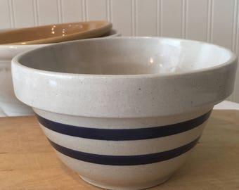 Vintage Stoneware Blue and White Striped   Mixing Bowl