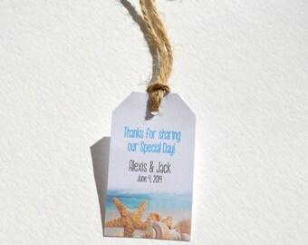 Starfish Beach Tag - White Matte Small Label Tags - Custom Wedding Favor & Gift Tags - Beach Theme