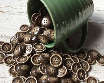"""brown buttons, brown and tan, new old stock,coffee with cream,set of 12,vintage buttons,dark brown,nos,vintage seventies,13/16"""",brown"""