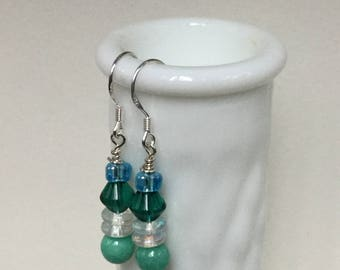 Turquoise lamp work bead dangle sterling silver earrings