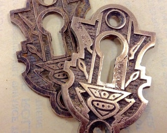 Antique Eastlake Key Escutcheons, Unique Shape, Brass