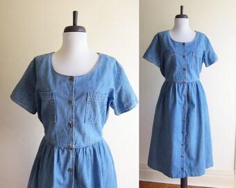 Vintage 1990s Dress / Blue Cotton DENIM Jean Fit & Flare Dress / Size Medium Size Large