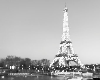 Paris Photography - Black and White, Sparkling Eiffel Tower with Twinkle Lights, Paris Fine Art Photograph, Home Decor, Large Wall Art