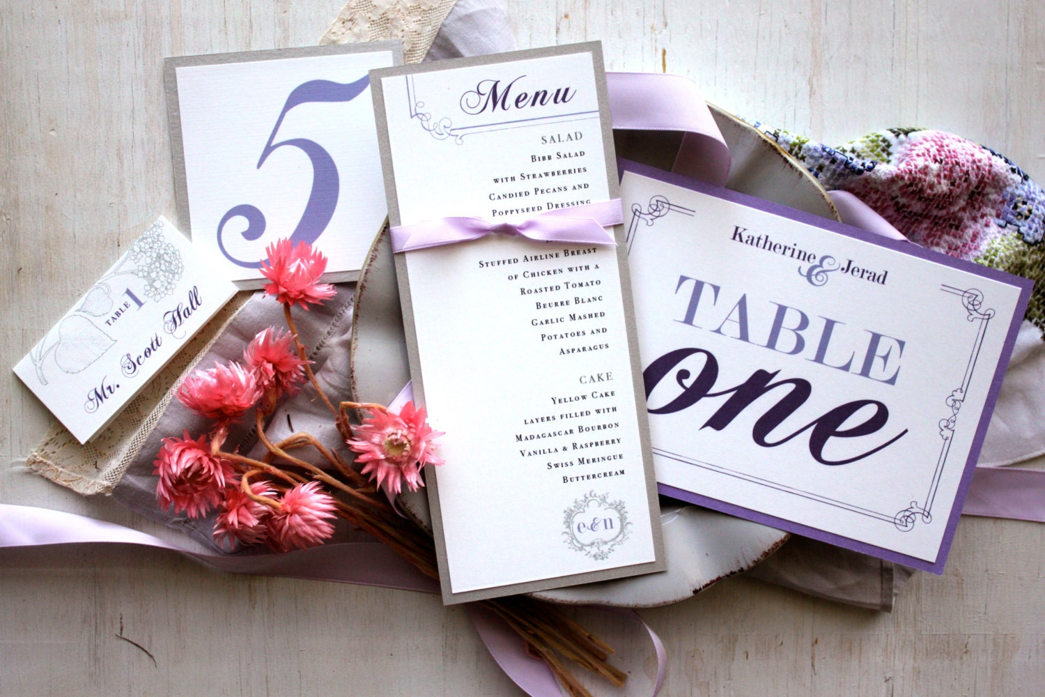 Purple Wedding Decor Shabby Chic Wedding Wedding Menu Card