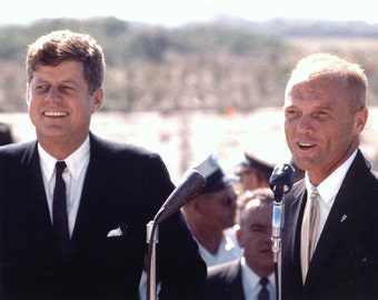 John Kennedy , Kennedy & John Glen at Cape Canaveral on August 9,1962