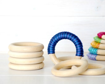 "5 Wood Rings - Large Wooden Rings - 3"" Wood Rings (75MM)- Wood Rings - DIY Teething Rings - Toss Rings - Wood Crafts - Wooden Teething Rings"