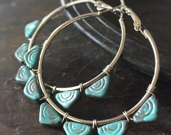 Urban Jungle Silver Hoop Earrings - Wire Wrapped with Teal Handpainted Glass Beads