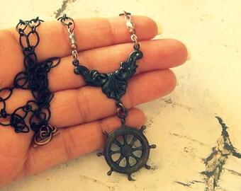 Ship Wheel Necklace, Ship Wheel Jewelry, Ship Wheel Gift, Helm's Wheel Necklace, Helm's Wheel Jewelry, Nautical Necklace For Women