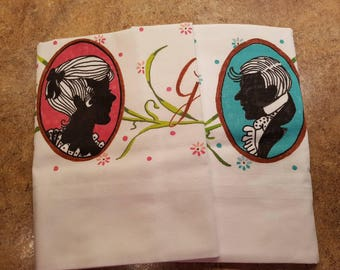Vintage hand painted Grandma and Grandpa Standard size Pillow Cases - silhouette, white, black, dusty rose, turquoise - Unique OOAK vintage