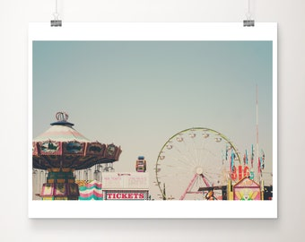 carnival photography, ferris wheel photograph, Bakersfield county fair, California photography, pastel decor, Nursery wall art