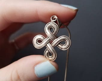 Vintage Sterling Silver Celtic Endless Infinity Knot Swirl Necklace