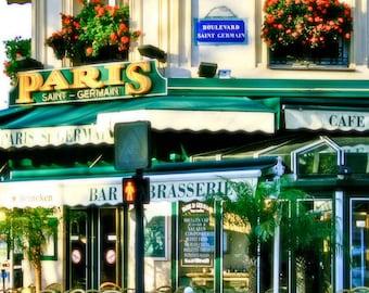 Paris Photography - French Cafe Photography - Saint Germain Cafe Photo - Parisian Decor - Emerald Green Art - Travel Photo  France
