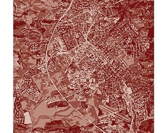 Blacksburg Cityscape Art Print / Virginia Tech Grad Gift / 8x10 Map Art / Choose your Color