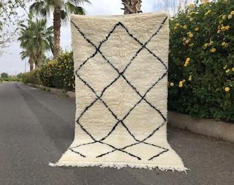 Vintage Beni Ourain Rug 3x6 - Oriental Woolen Rug - Berber Authentic Rug - Black and White Vintage Beniourain Carpet Rug - Tribal Rug
