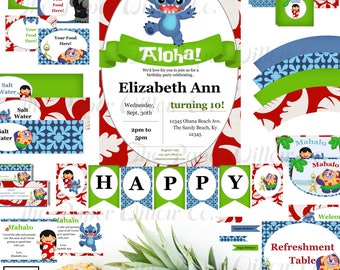 Stitch-Lilo and Stitch-Birthday Printable Party Set-DIY Printable-Instant Download-Editable Files-Banner-Labels-Tags-Toppers-Sign