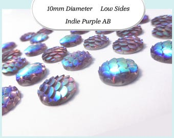 10 x 10mm Indie Purple AB Mermaid Fish Scale Cabochons - Australia