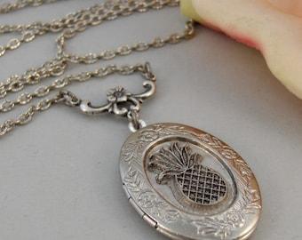 Friendship Pineapple Locket,Silver Locket,Silver Necklace,Pineapple,Friend,Silver,Antique Locket. Handmade jewelry by valleygirldesigns.