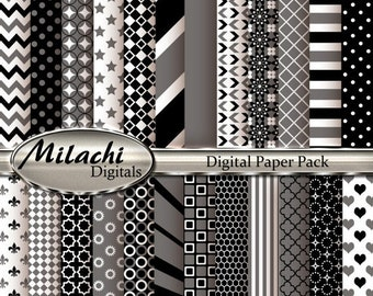 60% OFF SALE Black and Gray Digital Paper Pack, Scrapbook Papers, Commercial Use - Instant Download - M92