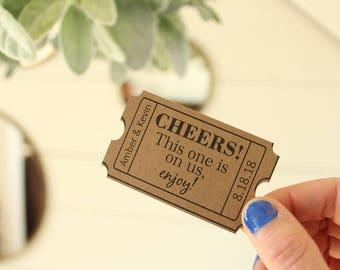 Cheers Drink Ticket Wedding Bar Wedding Favor