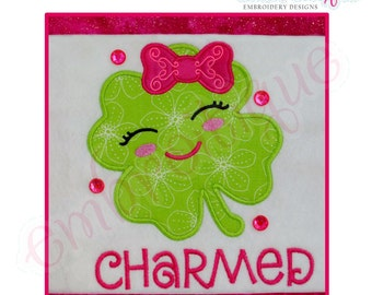 Happy Shamrock with bow & charmed lettering - adorable Irish St. Patrick's Day - Instant Download Machine embroidery design