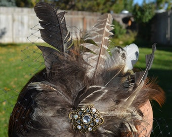 feather hair piece Natural feather plume headband fascinator with a bronze and crystal pendant