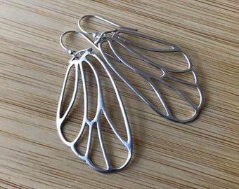 Silver Wing Dangle Earrings, Wing Jewelry, Wing Earrings