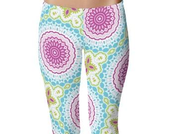 Pattern Leggings, Pink and Blue Boho Leggings, Bohemian Yoga Pants, Mandala Art Tights