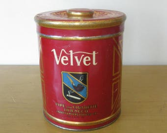 Vintage VELVET tobacco tin -pipe and cigarette-with lid- Liggett & Myers -smoking colllectible- tobacciana -tobacco can -vintage advertising