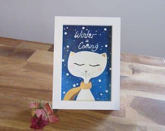 """Framed illustration """"Winter is coming"""", original illustration, cat, cat"""