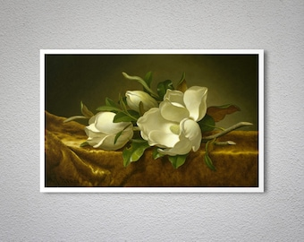Magnolias on Gold Velvet Cloth by Martin Johnson Heade -  Poster Paper, Sticker or Canvas Print / Gift Idea