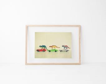 Dinosaur Print, Retro Wall Art, Boys Bedroom Art - Dinosaurs Ride Cars